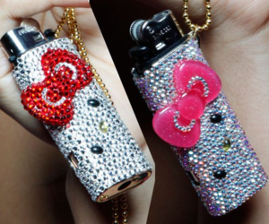 hello kitty, lighter, and red image