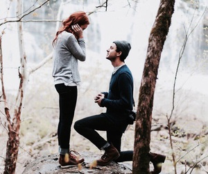 boy, couple, and forest image
