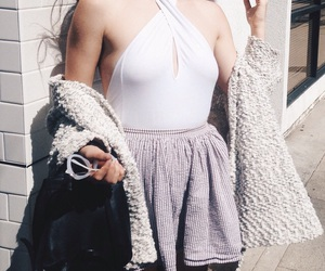 purple, lavender, and outfit image