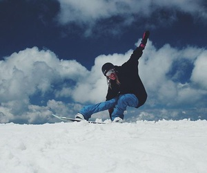 mountains, snow, and snowboard image
