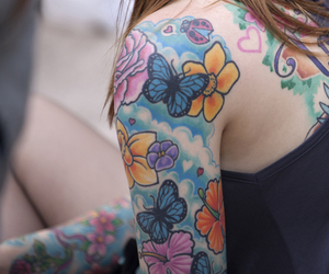 butterfly, heart, and Tattoos image