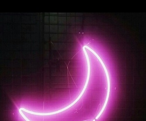 moon, pink, and neon image