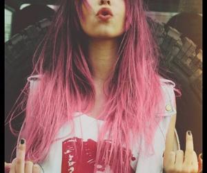 fuck you, long pink hair, and girl image
