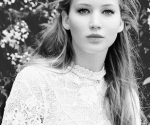 Jennifer Lawrence, beautiful, and black and white image