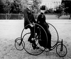 bicycle, couple, and victorian image