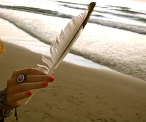 beach, feather, and girl image