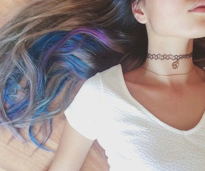 choker, hair, and colour image