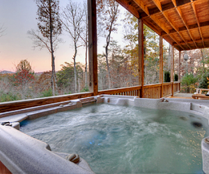 cabin, hot tub, and jacuzzi image