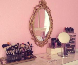 bedroom, makeup, and pink image