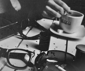 coffee, black and white, and glasses image