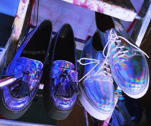 grunge, shoes, and holographic image