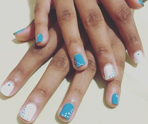 blue and white, nail art, and nails image