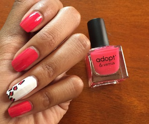 leopard, pink and white, and nails image