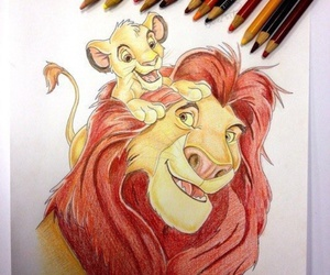 disney, drawing, and the lion king image
