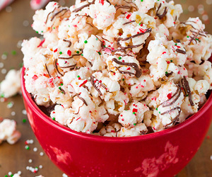food, christmas, and popcorn image