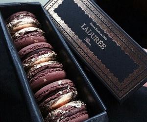 food, chocolate, and macaroons image
