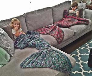 mermaid, kids, and blanket image
