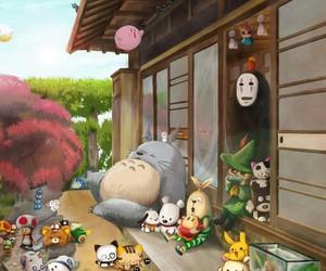 totoro, anime, and pikachu image