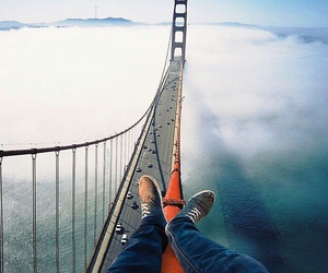 bridge, clouds, and travel image