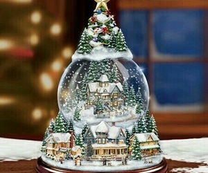christmas, snow, and snowglobe image