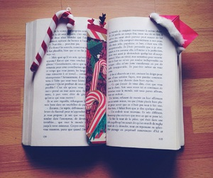 book, bookmark, and candy cane image