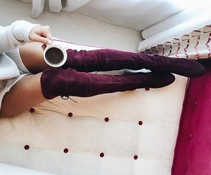 fashion, coffee, and boots image