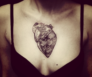tattoo, heart, and black image