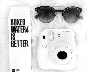 white, sunglasses, and polaroid image