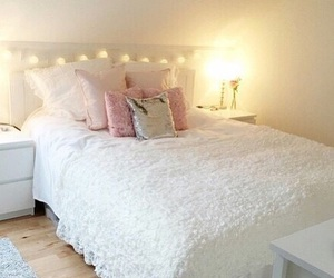bed, bedroom, and lovely image