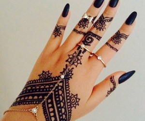 henna, nails, and black image