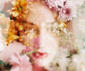 cool, floral, and double exposure image