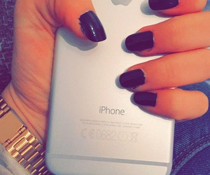 black nails, iphone, and iphone6 image
