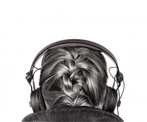 girl, music, and black and white image