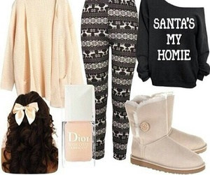 christmas, leggings, and outfit image