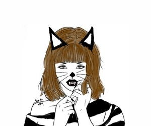 cat, drawing, and outline image