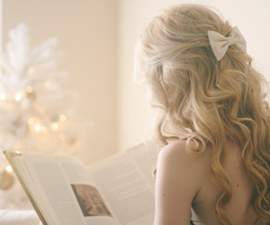 blonde, book, and bow image