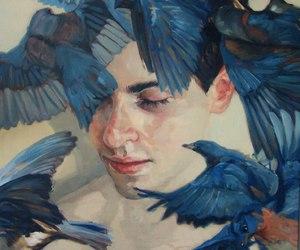 bird, art, and blue image