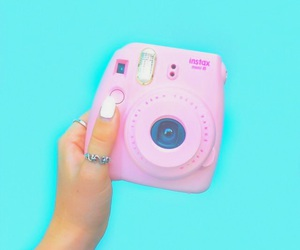 pink, blue, and camera image