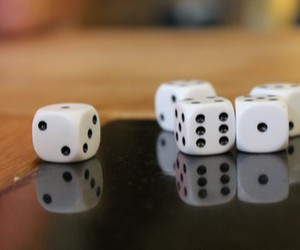 black and white, dice, and game image