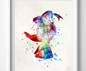 donald duck, baby gift, and watercolor art image