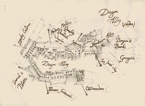 harry potter, diagon alley, and map image