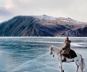 horse, ice, and travel image