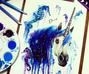 blue, drawing, and unicorn image