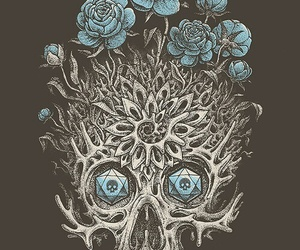 black and white, skull, and wallpaper image