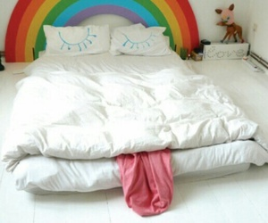 rainbow, bed, and bedroom image