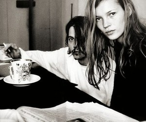 black and white, johnny depp, and kate moss image