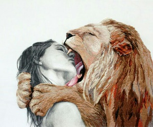 lion, art, and kiss image