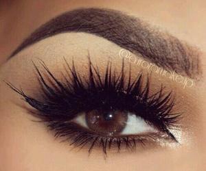 brown, eyelashes, and makeup image