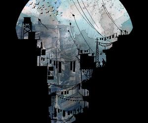 art, city, and dark image