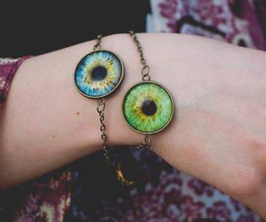 eyes, bracelet, and blue image